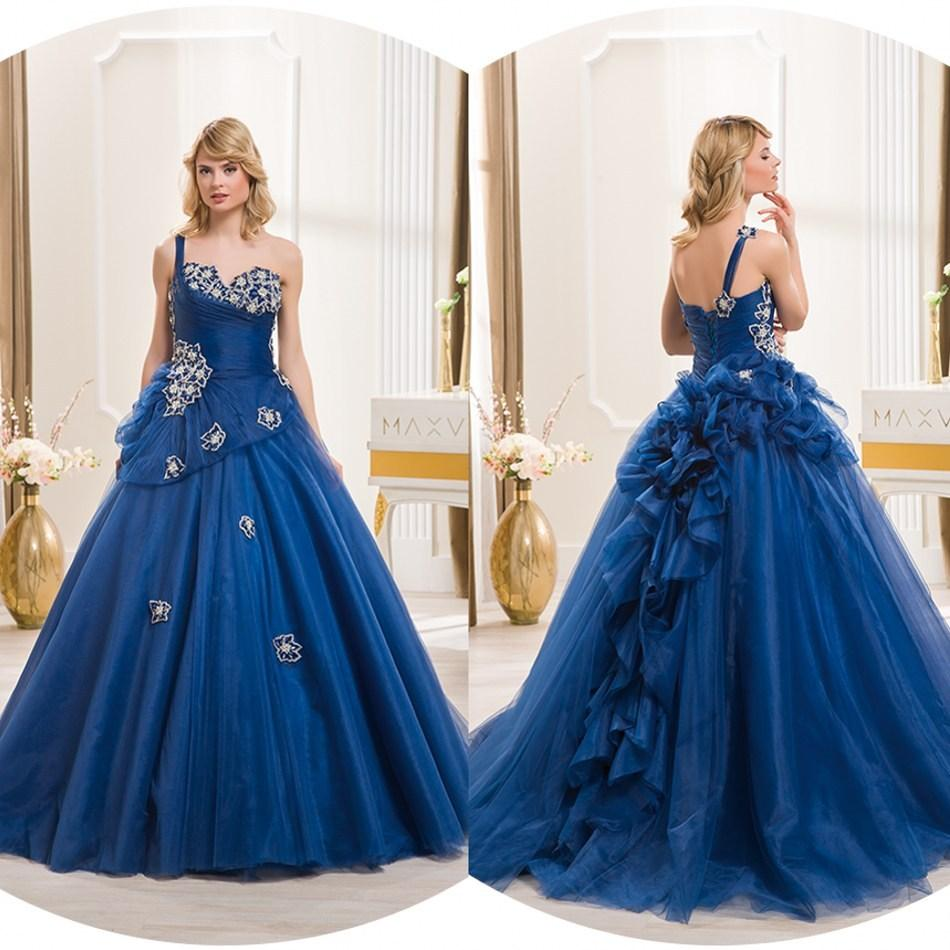 Wonderful royal blue wedding dresses colored one shoulder a line
