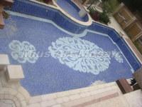 [Mius Art Mosaic]  Blue glass mosaic Swimming pool project blue glass mosaic E7035