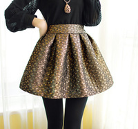New Arrival Women Skirt Plaid Golden Sliver Ball Gown Pleated Fashion Skirts KB446