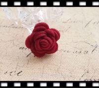 35MM 30Pcs ( Handmade & Wool felt ) Flower Woolen Wire Jewelry Findings & Garment  Accessories