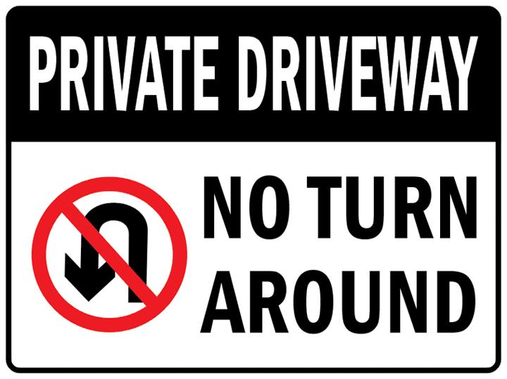 "PAS148 Private Driveway No Turn Around Car Traffic Safety Aluminum Metal Sign 9""x12"" + Free Ship(China (Mainland))"