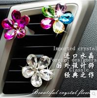 Free shipping car outlet Austrian crystal flower decorations cute car interior ornaments handmade rhinestone crystal diamond