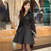 2015 Korean Women's Casual Double-Breasted Coat Long Outwear Slim Trench Coat Black, Orange, Royal Blue, Pink, Beige(S-XXXL;3XL)