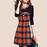Vestidos 2014 Winter Casual dresses Korean Version Slim Long Sleeve Plaid O-neck Button Mini Bottoming Dress Plus Size
