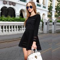 The European station new winter dress slim slim fashion Eugen yarn long sleeved dress wholesale