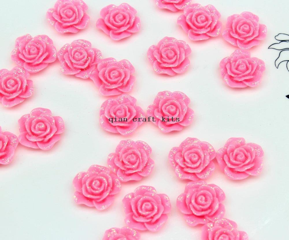 250pcs 18mm Vintage Pink Resin Flower Cabochons with Glitter Finish Resin Cabochons Flatback Flat Back Kawaii(China (Mainland))