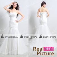 In stock white mermaid wedding Dresses romantic vestido de noiva 2015 Real Sample Sexy Sweetheart Long Bridal Gown Wedding Gowns