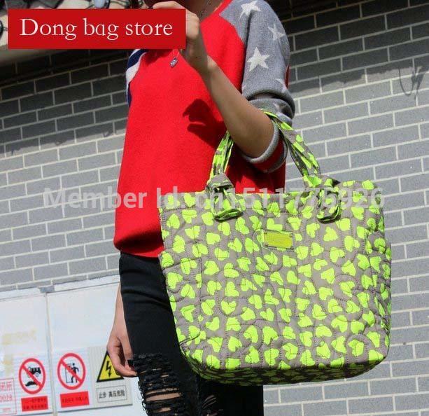 2015 women handbag brand shoulder bag wholesale casual tote large shopping bag Green heart bag free shipping 13001-3(China (Mainland))