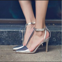 Wholesale Price!2015 European and American style silver/white t-strap buckle sandals office lady elegant high heels shoes pumps