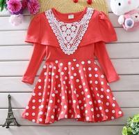 flower girls spring princess dress children dot printing gauze dresses baby girl patchwork dress kid fashion clothes JL-2232