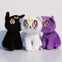 "3pcs/set 12""30CM Sailor Moon Cat Luna Artemis Stuffed Animals Plush Doll Soft Toys For Children Free Shipping"