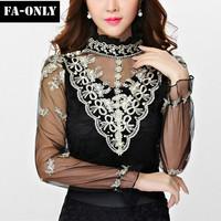 New Luxury Women Blouse Vintage Long Sleeve Shirt Women Tops Fashion Basic Lace Blouses Free Shipping c1424