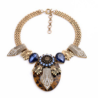 Exaggerated Vintage Style Leopard Resin Pendants Blue Created Gemstone Chunky Necklace