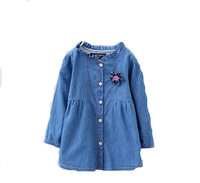 Retail 2015 New Children Cloth Babygirl Washed  Denim Blouse Lace Collar Kids Shirt Girl  Blouses