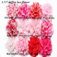 ePacket Free shipping 50 pcs/ lot , 3.75'' chiffon lace flowers girls lace headband baby hair accessories