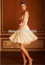 2015 Cheap Tulle Vestido De Noiva Sleeveless Bridal Gowns Bridesmaid Dress Garden Beach Cheap Short Wedding Dress Under 100(China (Mainland))