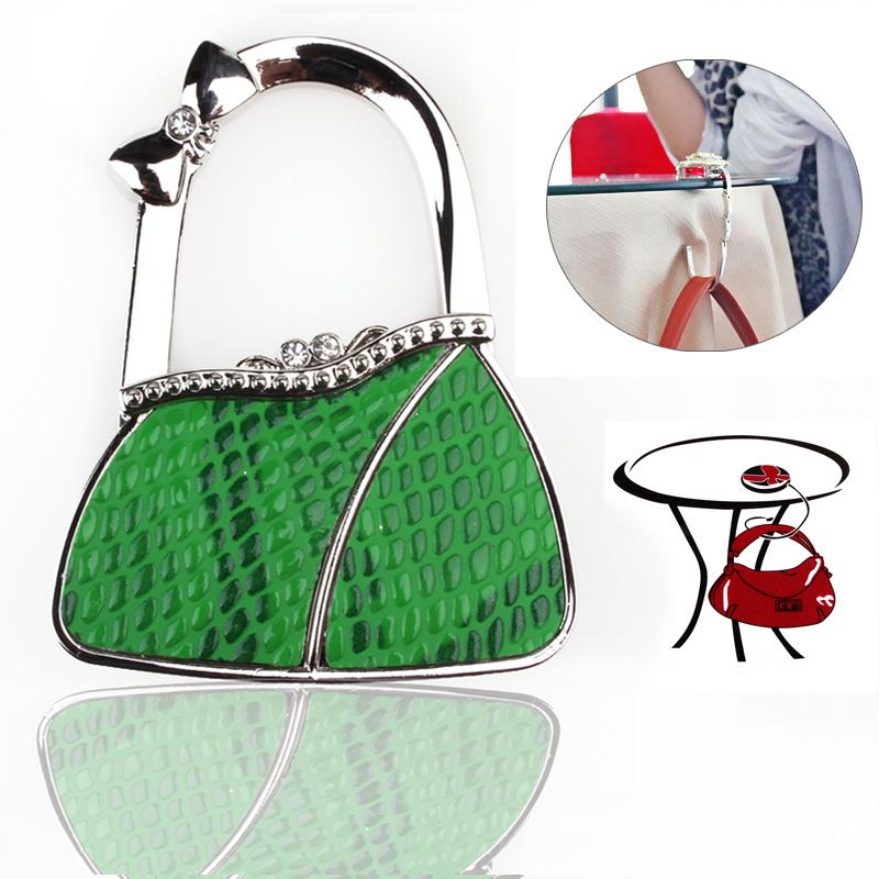 12pcs/lot Portable Folding 54colors Butterfly PU Alloy with Bow Handbag Hook Hanger Bag Holder(China (Mainland))