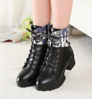 Camouflage autumn winter chunky ankle zipper boots black cool round toe fashion martin boots size 40 free shipping