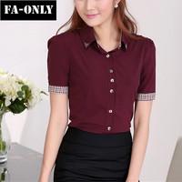 Hot Summer 2015 Fashion Women Tops Slim Short Sleeved Work Shirt Plus Size OL Blouses Free Shipping c1423