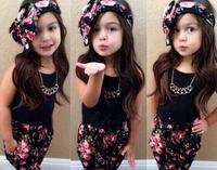 Summer Girls Clothing Sets:Flolal Girls Pants+Vest with Headwear Cotton Baby Wear roupas infantil meninas Fashion 2015 New