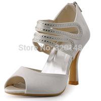 Elegantpark 2015 New HP1420 Peep Toe Strappy Rhinestoens Spool Heel Wedding Bridal Shoes by Free Shipping
