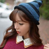 Fanshou Free Shipping 2015 Women Hat Fashion Striped Caps Knitted Winter Hat Warm Beanies Casual Hats For Women Gorro Invierno