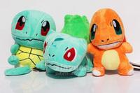 "3pcs/set 6""15cm Pokemon Plush Toys Bulbasaur Charmander Squirtle Stuffed Plush Doll Toys Free Shipping"