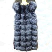 Hot Selling Real Fox Fur Vest Waistcoat Big Fur 90cm  Long Luxury Women Winter Fashion Outwear Coats Free Shipping