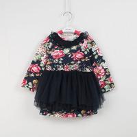 2015 spring new arrrival children's clothing girls long sleeve floral cotton dress kids veil dresses 1108