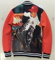 (Alice)2015 New fashion Men's striped 3d jacket back Skateboard Boy streetwear jacket men outerwear coat 2 colors J37