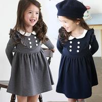 2015 Children Spring Puff Sleeve 6 Buttons Preppy Style Dress, Girl Cotton Grey Blue Dresses, 5 pcs/lot, Wholesale