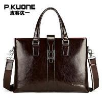 "LUXURY Famous Brand designer men genuine leather handbag High Grade Oil Wax Cowhide Business Briefcase for men 14"" laptop bag"