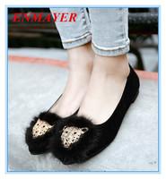 ENMAYER grade Scrub slip-on Closed Toe shoes for girls rabbit comfortable flats Basic black red brown beautiful women flats