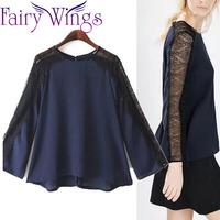 2015 Women Blouses Spring Summer Shirt Lace OL Casual Patchwork Blusas Femininas Blouse Shirt Elegant Long Sleeve Shirt PH2725