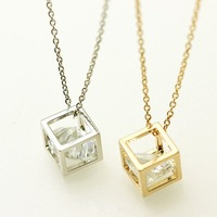 Min order 1pc Simple Gold, Silver Cube Necklace,zircon in the cube necklace,Rhinestone Necklace for women XL-078