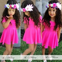 Solid Color Baby Girl Casual Dress Rose Color Cute Toddler Girl Clothes vestidos infantis,Children Clothing Cotton Girls Dresses