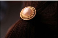 A9R23C Wholesale 12pcs/Lot Fashion Korean Women Ogihara peaches Cute big pearl Hair Band Rope Scrunchie Ponytail Holder