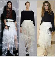 saia femininas2015 women summer new summer  irregular dot high waist skirts dreamy organza long skirt skirts womens