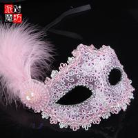 Feather fedoras half face mask Christmas halloween masquerade masks