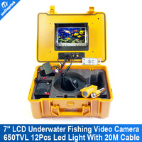 7 inch LCD CCTV Underwater Video Camera System Fish Finder CCD 650TVL12Pcs White Lights Night Vision Fishing Camera 20M Cable