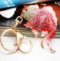 Cool new red carp Hee South Korea imported jewelry diamond pendant car keychain bag lady Korea Creative