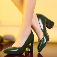European Style Women Leather Pumps Shoes Pointed Toe Square Heel Shoes OL Dress High Heels Shoes