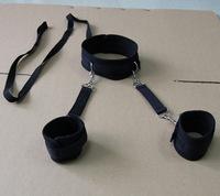 Alternative sources of red toy handcuffs hands tied bound neck