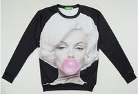 4 kinds of color women 2014 clothes pullovers marilyn monroe print 3d sweatshirt sexy girl fashion 3d hoodies  plus size