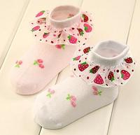 free shipping spring and summer 100% cotton socks for girl children socks strawberry style socks