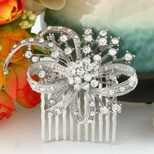 BELLA 2015 New Bridal Wedding Flower Bow Hair Comb Pins Austrian Crystal Head Piece For Wedding Hair Piece Bridesmaid Jewelry