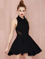 2015 new dresses women sleeveless Sexy Gauze splicing Pleated Back Hollow Out Dress vestidos Black shirt dress camisa de vestido