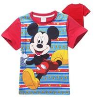 Wholesale 2015 new summer boys mickey printed t-shirts kids cotton short sleeve t shirt children's fashion tees tops 6pcs/lot