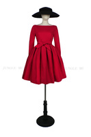 2015 Spring New Female Vintage Prom Party Big Swing Dress with Petticoat Long Sleeve Slash Neck Slim Waist with Bow Red Black