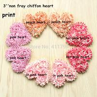 Free shipping 135 pcs/ lot  , 3'' shabby flowers chiffon rose  heart  sweet rose chiffon heart   headband for  valentines  day